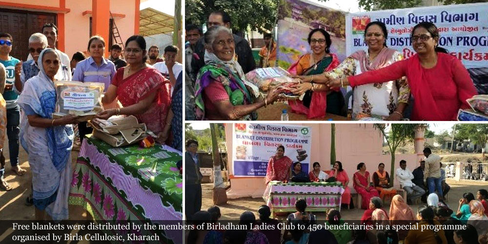 Free blankets were distributed by the members of Birladham Ladies Club to 450 beneficiaries in a special programme organised by Birla Cellulosic, Kharach